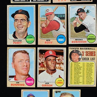 Lot of (388) 1968 Topps Baseball cards including Bench rookie (PR-NM)