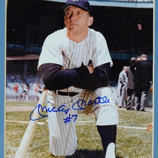 """Mickey Mantle signed photograph with """"No.7"""" inscription (NM framed)"""