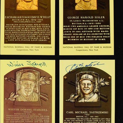 Lot of (10) signed yellow Hall of Fame postcards (GD-NM) Includes George Sisler