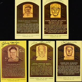 Lot of (5) Yankees signed Hall of Fame postcards incl