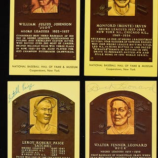 Lot of (4) Negro League player signed Hall of Fame postcards incl