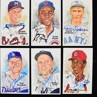 Lot of (30) Hall of Famer signed Perez Steele postcards...