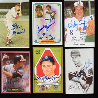Lot of (23) Hall of Famer signed postcards and similar...