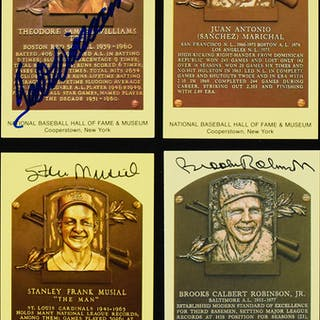 Lot of (6) signed yellow Hall of Fame postcards incl