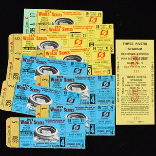 Lot of (9) 1971 World Series ticket stubs and (1) parking...
