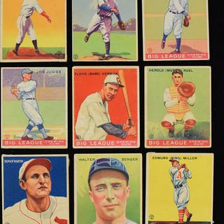 Lot of (98) 1933 Goudey cards (PR-FR/GD) Lot of (98) different cards