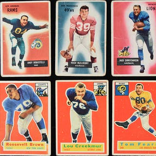 Lot of (35) 1955 Bowman and (70) 1956 Topps football cards (PR-VG)