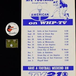 Baltimore Orioles and Baltimore Colts vintage memorabilia lot (VG-EX/MT)