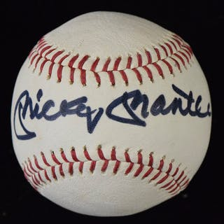 Mickey Mantle signed New York Yankees logo baseball (EX/MT)