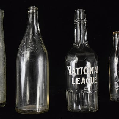 Lot of (5) vintage baseball themed decorative bottles
