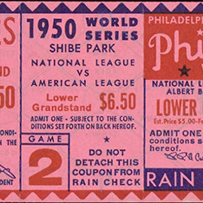1950 World Series Game (2) full ticket - Yankees win over Philly