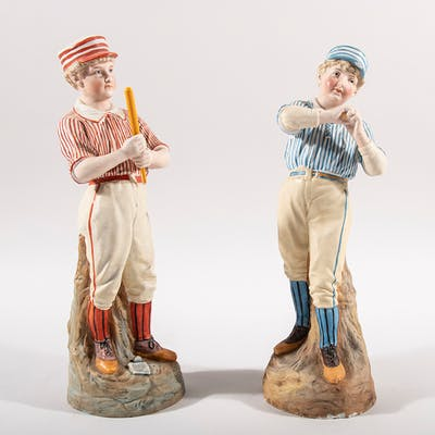 Heubach German bisque porcelain baseball figurines...
