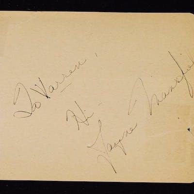 Jayne Mansfield Signed Album Page Ex Vintage Album Page