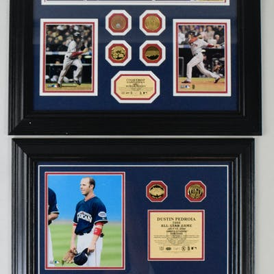 "Lot of (4) Boston Red Sox ""1 of 1"" Highland Mint framed..."
