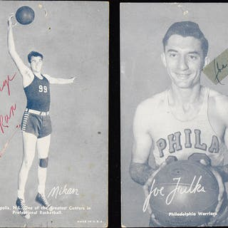 Joe Fulks and George Mikan signed late 1940s Exhibits...