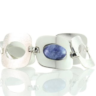 Modernist Vintage Damen Armband Silber 835 und natürlichen Sodalith