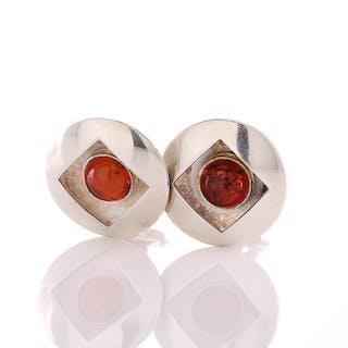 Fein und Stylish: Ohrringe Clips 15,5 mm aus Silber 925 und press Bernstein