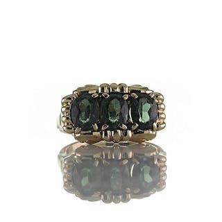 Antiker Art Déco Trilogie Ring Gold 585er 14k und grünen synthetischen Spinell