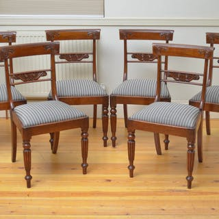 Set of 6 William IV Mahogany Dining Chairs - Nimbus Antiques