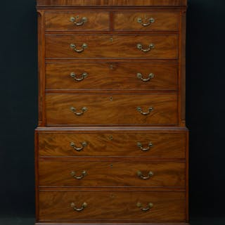 George III Figured Mahogany Chest on Chest - Nimbus Antiques