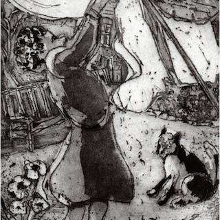 Yates, Anthony RBA RBSA (1957 - ) Windy Washing Day - Trent Art