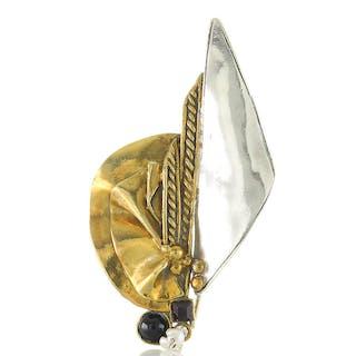 XXL Brosche Silber 925 und Messing besetzt mit Onyx, Granat, Perle