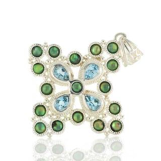 Großer moderner Anhänger echt Silber 925 mit Opal Tripletten und Blautopas