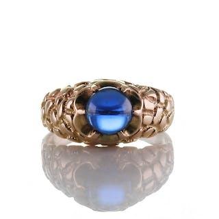 Vintage Herrenring Ring Gold 585er mit Ornamenten und tiefblauer Verneuil