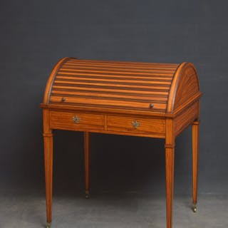 Superb Sheraton Revival Satinwood Desk - Nimbus Antiques