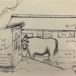 Simcock, Jack (1929-2012) Farm Buildings with Cow (Working Sketch) - Trent Art