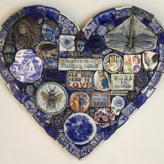 Hardaker, Philip (1954 – ) Large Blue Heart - Trent Art
