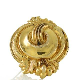 Schaumgold Brosche aus Gold 333er = 8 Karat Unikat, Biedermeier um 1850