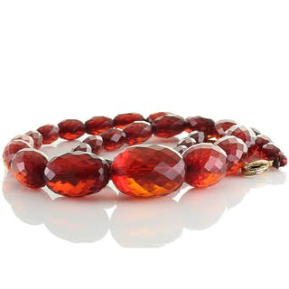 Red Cherry Vintage Oliven Kette aus Bakelit (Bernstein Imitat) im