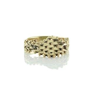 Extravaganter IG Ring mit gewebtem Ringkopf Gold 585er = 14kt