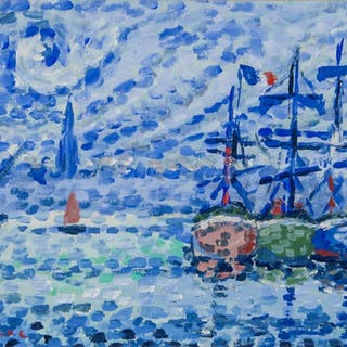 Paul Signac French Neo-Impressionist Oil on Paper