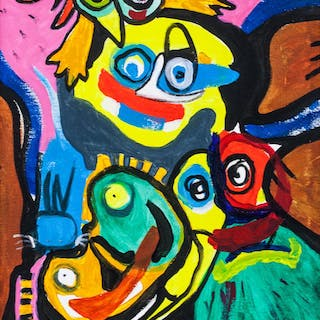 Karel Appel Dutch Abstract Oil on Canvas '74