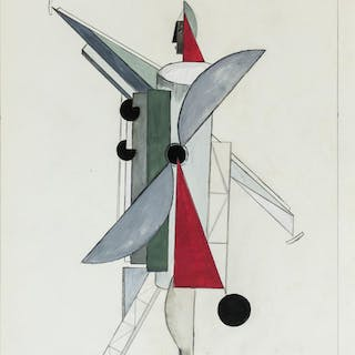El Lissitzky Russian Suprematist Gouache on Paper