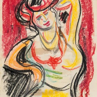 Ernst Ludwig Kirchner German Pastel on Paper
