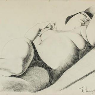 Tamara de Lempicka Polish-French Art Deco Charcoal