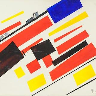 El Lissitzky Russian Constructivist Oil on Canvas
