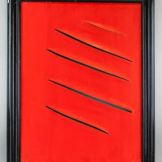 Lucio Fontana Argentine-Italian Abstract OOC 1964