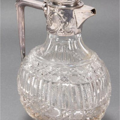 19th Century Russian Silver and Crystal Ewer