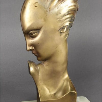 Lorenzl Art Deco Bronze Bust of a Maiden