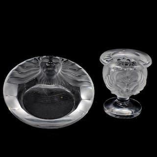 """(2 Pc) Lalique """"Tete De Lion"""" Table Lighter and Ashtray"""
