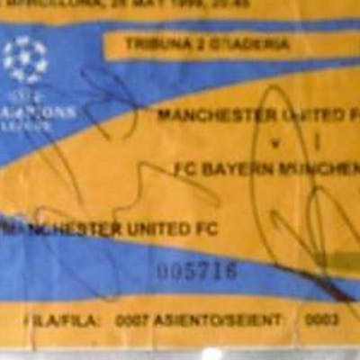 Lot 53 - European Cup final ticket from the 1999 Final Man U