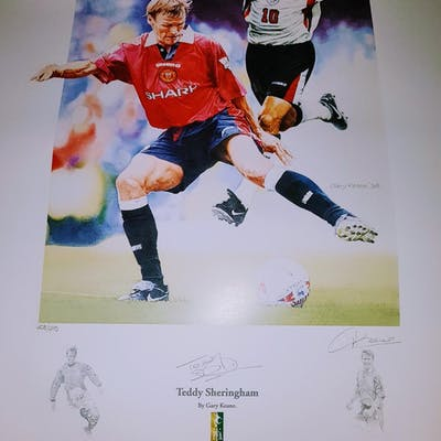 Lot 178 - Signed Football Print by ex Manchester United & En
