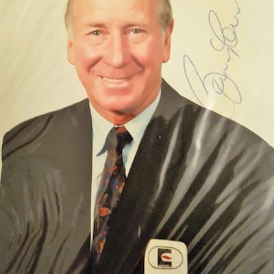 Lot 225: Sir Bobby Charlton signed mastercard promo photo