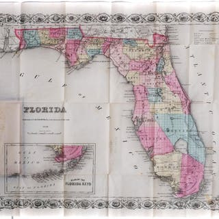 1856 MAP OF FLORIDA Colton, Hand-Colored