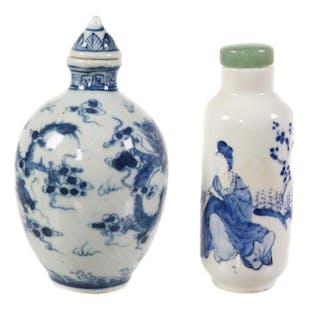 (2) Chinese Porcelain Snuff Bottles, Dragon