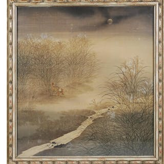 Chinese Painting on Silk, Deer in Landscape
